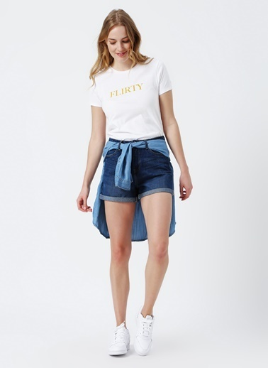 Only Only Yazılı Beyaz T-Shirt Beyaz
